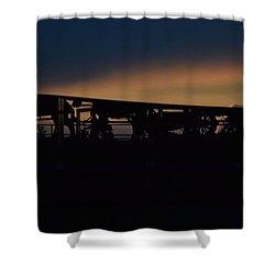 Wagon Train Slihoutte Shower Curtain