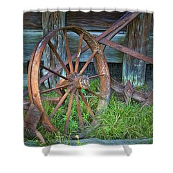 Shower Curtain featuring the photograph Wagon Wheel And Fence by David and Carol Kelly