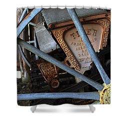 Shower Curtain featuring the photograph Wagon Wheel And Grass Seeder by Joanne Coyle