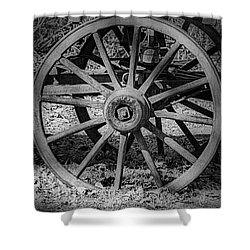 Wagon Wheel Shower Curtain by Jay Stockhaus