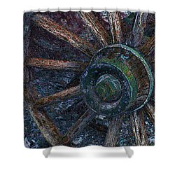 Shower Curtain featuring the digital art Wagon Wheel by Stuart Turnbull