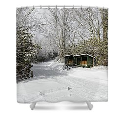 Wagon Wheels And Firewood Shower Curtain