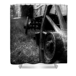 Wagon Wheels In Black And White Shower Curtain