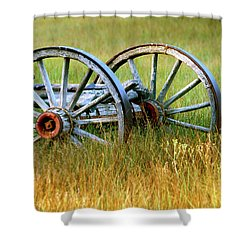 Wagon Wheels Shower Curtain by Melanie Alexandra Price