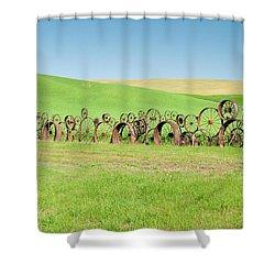 Wagon Wheels Stacked Palouse Washington Shower Curtain by James Hammond
