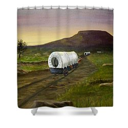 Wagons West Shower Curtain by Sheri Keith