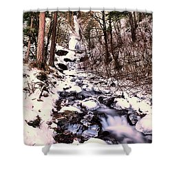 Shower Curtain featuring the photograph Wahkeena Falls In Ice by Jeff Swan