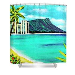 Waikiki Beach And Diamond Head #150 Shower Curtain by Donald k Hall