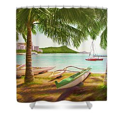 Waikiki Beach Outrigger Canoes 344 Shower Curtain by Donald k Hall