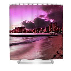 Shower Curtain featuring the photograph Waikiki Twilight by Kristine Merc