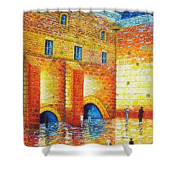 Shower Curtain featuring the painting Wailing Wall Original Palette Knife Painting by Georgeta Blanaru