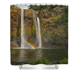 Wailua Falls Rainbow Shower Curtain by Brian Harig
