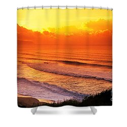 Waimea Bay Sunset Shower Curtain by Vince Cavataio - Printscapes