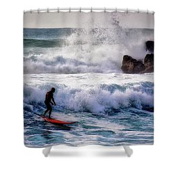 Waimea Bay Surfer Shower Curtain by Jim Albritton