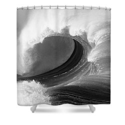 Waimea Bay Wave - Bw Shower Curtain by Vince Cavataio - Printscapes