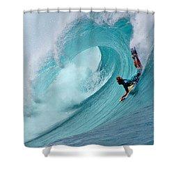 Waimea Bodyboarder Shower Curtain by Kevin Smith