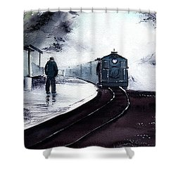 Shower Curtain featuring the painting Waiting by Anil Nene