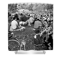 Shower Curtain featuring the photograph Waiting For Dali Lama Central Park by Dave Beckerman