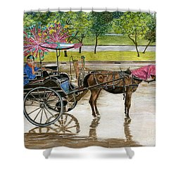 Shower Curtain featuring the painting Waiting For Rider Jakarta Indonesia by Melly Terpening