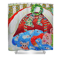 Shower Curtain featuring the painting Waiting For Santa by Li Newton