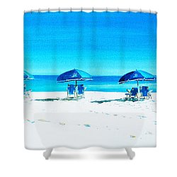 Waiting For The Beach Sitters Shower Curtain