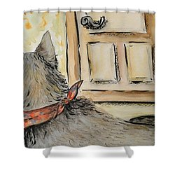 Shower Curtain featuring the painting Waiting For The Humans by Maria Langgle