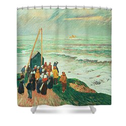 Waiting For The Return Of The Fishermen In Brittany Shower Curtain by Henry Moret