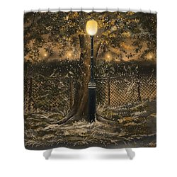 Shower Curtain featuring the painting Waiting For The Snow by Veronica Minozzi