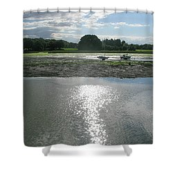 Waiting For The Tide Shower Curtain by Maria Joy