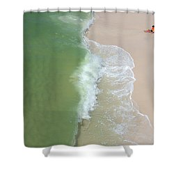 Shower Curtain featuring the photograph Waiting For The Wave by Teresa Schomig