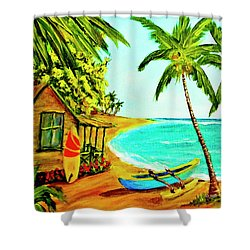 Waiting For The Waves Hawaii #387  Shower Curtain by Donald k Hall