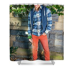 Young Man Waiting For You Shower Curtain
