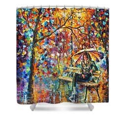 Waiting In The Rain Shower Curtain by Leonid Afremov