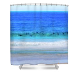 Waiting On A Wave Shower Curtain by Joseph S Giacalone