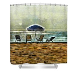 Shower Curtain featuring the mixed media Waiting On High Tide by Trish Tritz