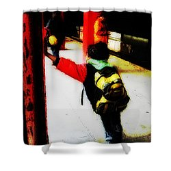 Waiting On The Q Train In Flatbush Shower Curtain by Iowan Stone-Flowers