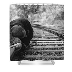 Waiting On The Rails Shower Curtain