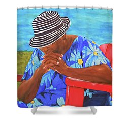 Waiting Patiently Shower Curtain by Jean Blackmer