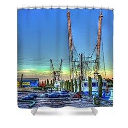 Shower Curtain featuring the photograph Waiting Shrimp Boats Wilmington River Tybee Island Georgia Art by Reid Callaway