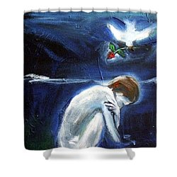 Shower Curtain featuring the painting Waiting by Winsome Gunning