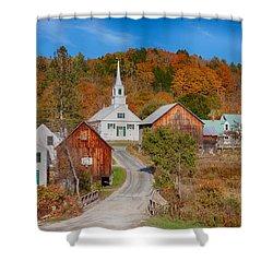 Waits River Church In Autumn Shower Curtain