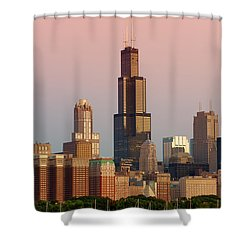 Wake Up Chicago Shower Curtain by Sebastian Musial