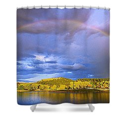Shower Curtain featuring the photograph Wake Up Rainbow  by Kadek Susanto