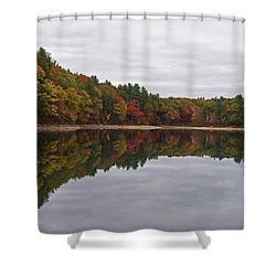 Walden Pond Fall Foliage Concord Ma Reflection Trees Shower Curtain