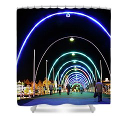 Shower Curtain featuring the photograph Walk Along The Floating Bridge, Willemstad, Curacao by Kurt Van Wagner