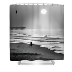 Shower Curtain featuring the photograph Walk Beneath The Moon by Karen Wiles