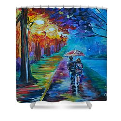 Shower Curtain featuring the painting Walk By The Lake  by Leslie Allen
