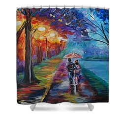 Shower Curtain featuring the painting Walk By The Lake Series 1 by Leslie Allen