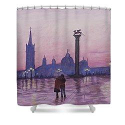 Walk In Italy In The Rain Shower Curtain
