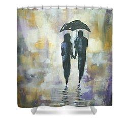 Walk In The Rain #3 Shower Curtain by Raymond Doward